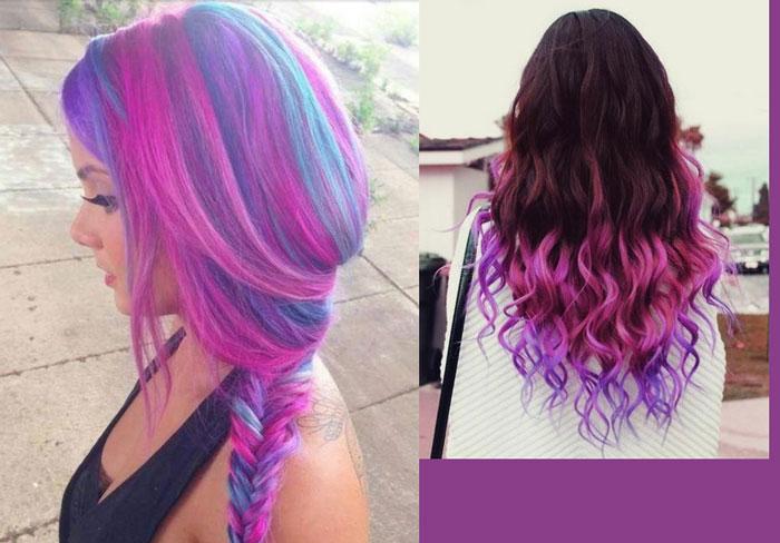 Омбре разноцветное на темные волосы