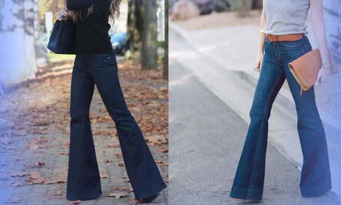модные расклешенные джинсы