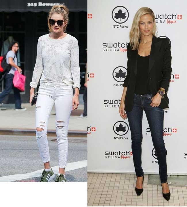 Модные джинсы скинни с чем носить