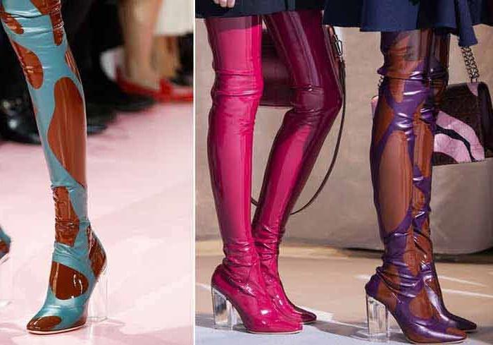 Примеры комбинирования различных оттенков в моделях обуви