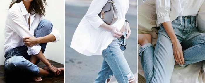 джинсы boyfriend с белой рубашкой