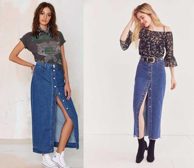 Длинная юбка в пол из джинса с чем носить