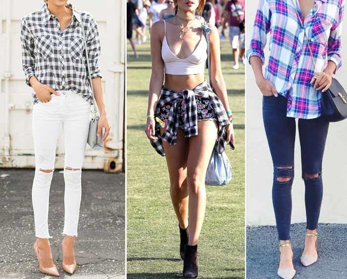 Образы рубашка джинсы или юбка