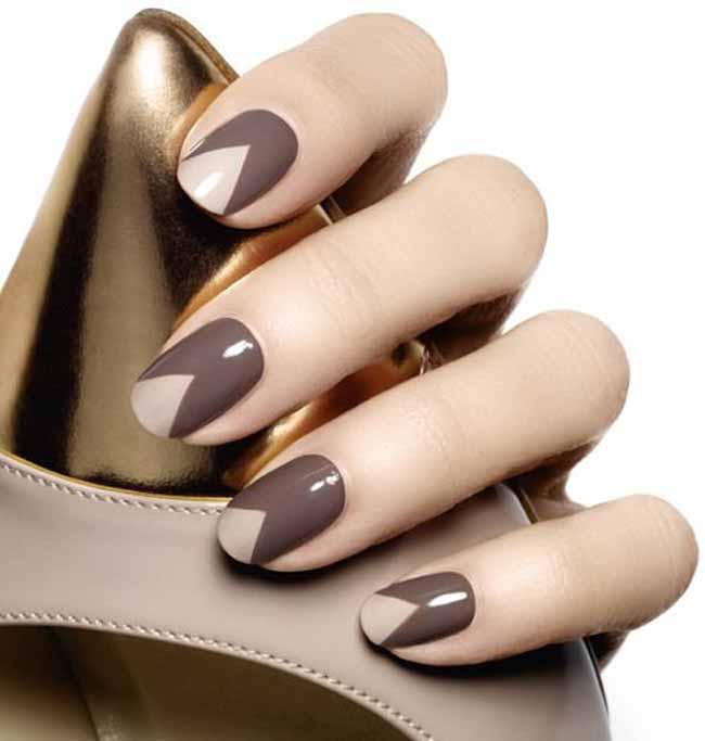 Ногти коричневый с бежевым