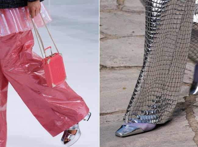 Серебристая обувь Chanel
