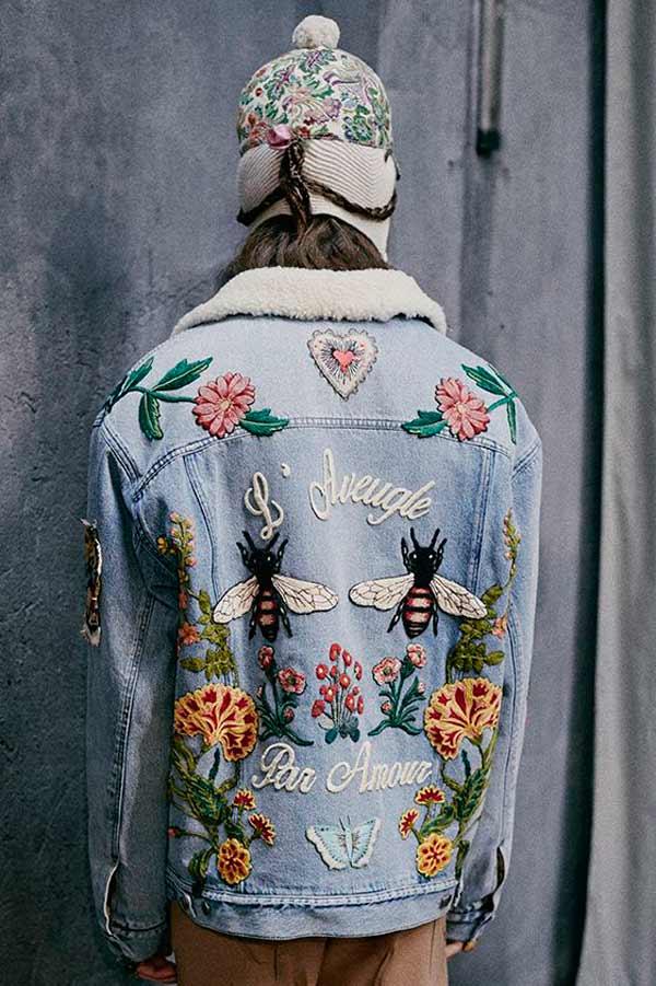 Куртка из денима с вышивкой Gucci