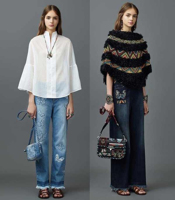 Два образа  джинсы-клёш с вышивкой Valentino 2017