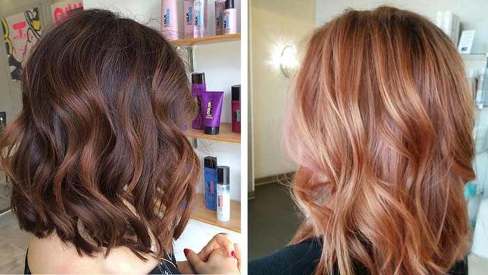 Пример балаяж на темных и светлых волосах