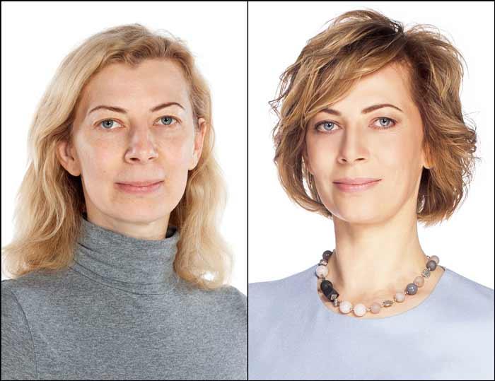 Макияж, женщина до и после посещения стилиста