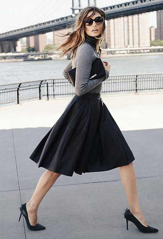Черная юбка-солнце-клеш+серая водолазка