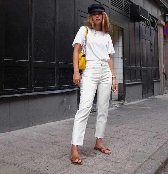 Тинейджер стиль с белыми джинсами