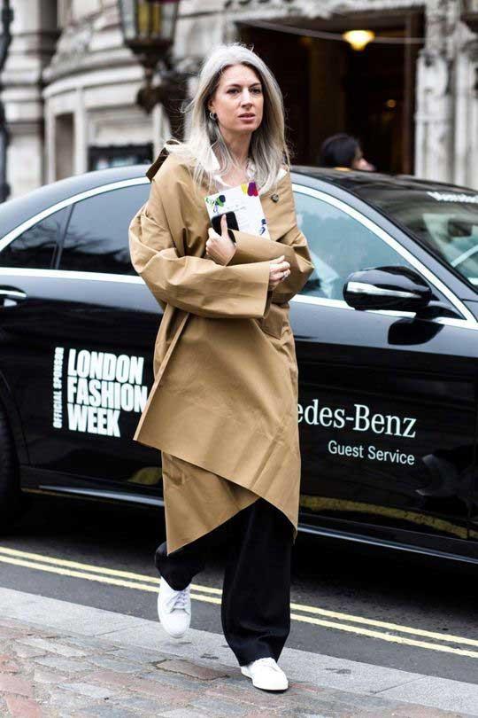 Лондон - образ с широкими брюками