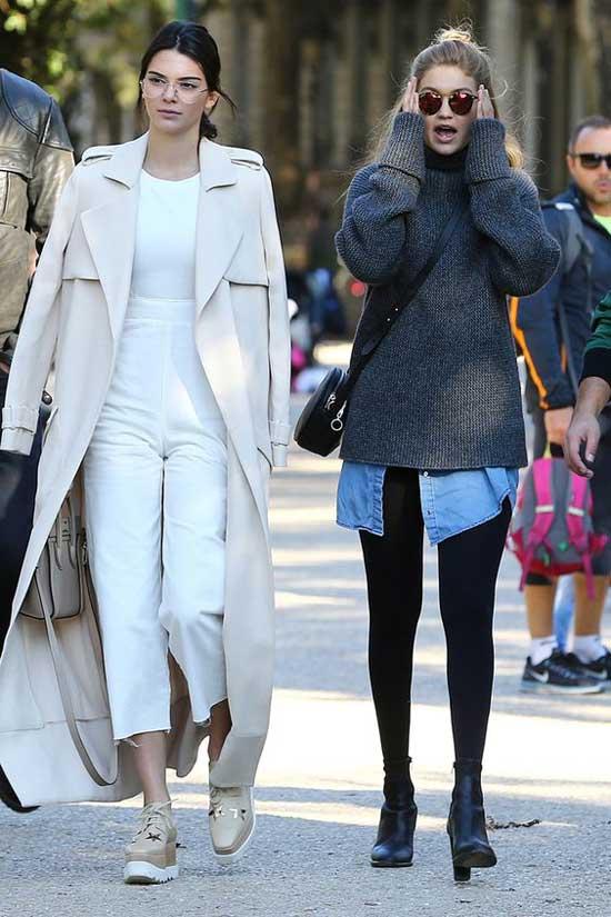 Уличный стиль с укороченными брюками Kendall Jenner и Gigi Hadid