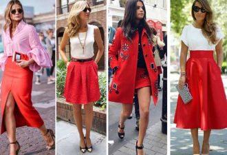 Новые образы с красной юбкой
