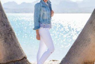 Летние образы с белыми джинсами