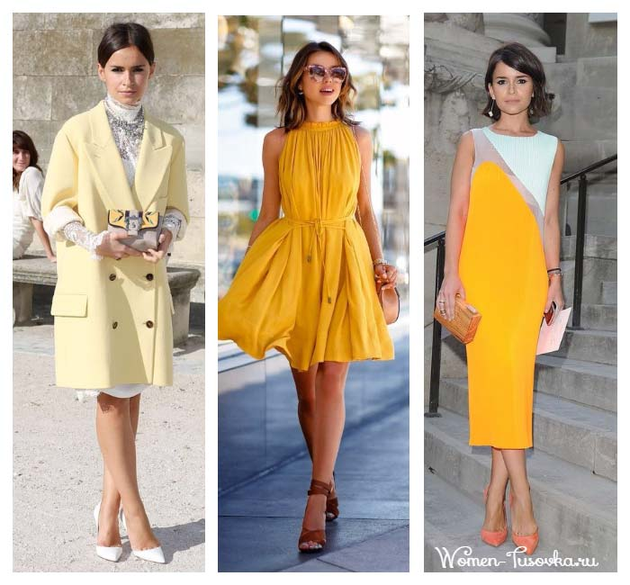 Лимонный, канареечный оттенки желтого в одежде