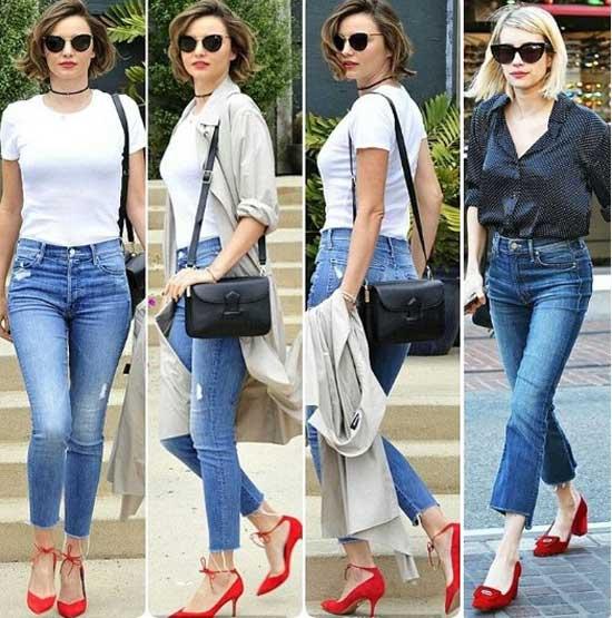Красные туфли стильные аутфиты