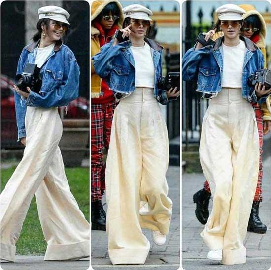 Кендалл Дженнер белые широкие брюки и джинсовая куртка