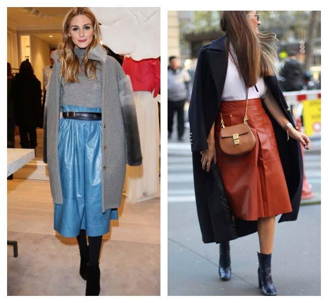 Цветные юбки из кожи и обувь