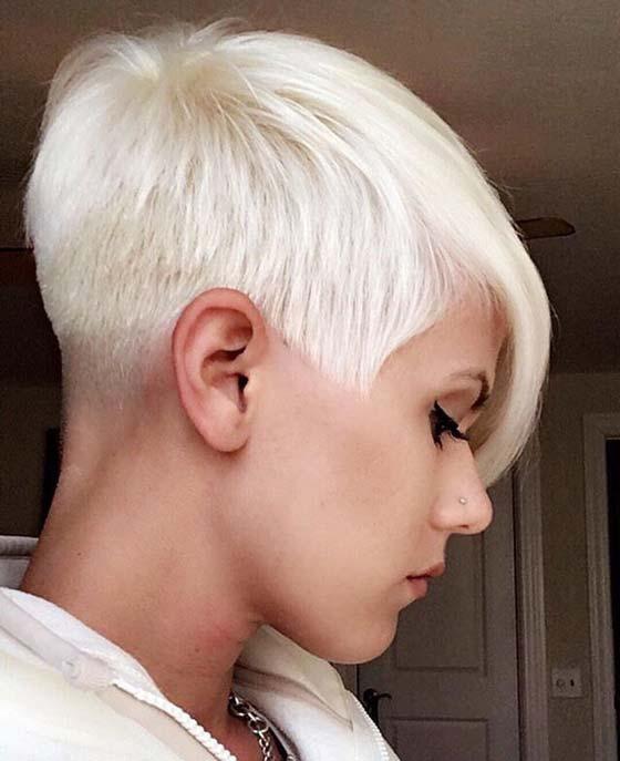 Блонд, пикси с ультра короткими висками