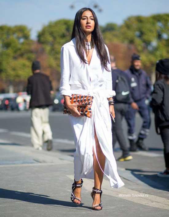 Белое платье миди- стритстайл