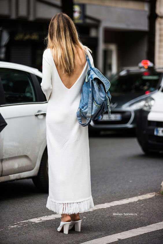 Длинное платье с бахромой по краю - уличный стиль 2017