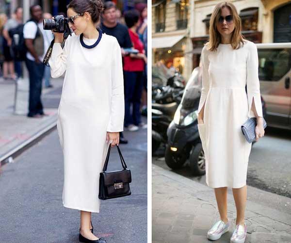 Аутфиты - белое платье для работы