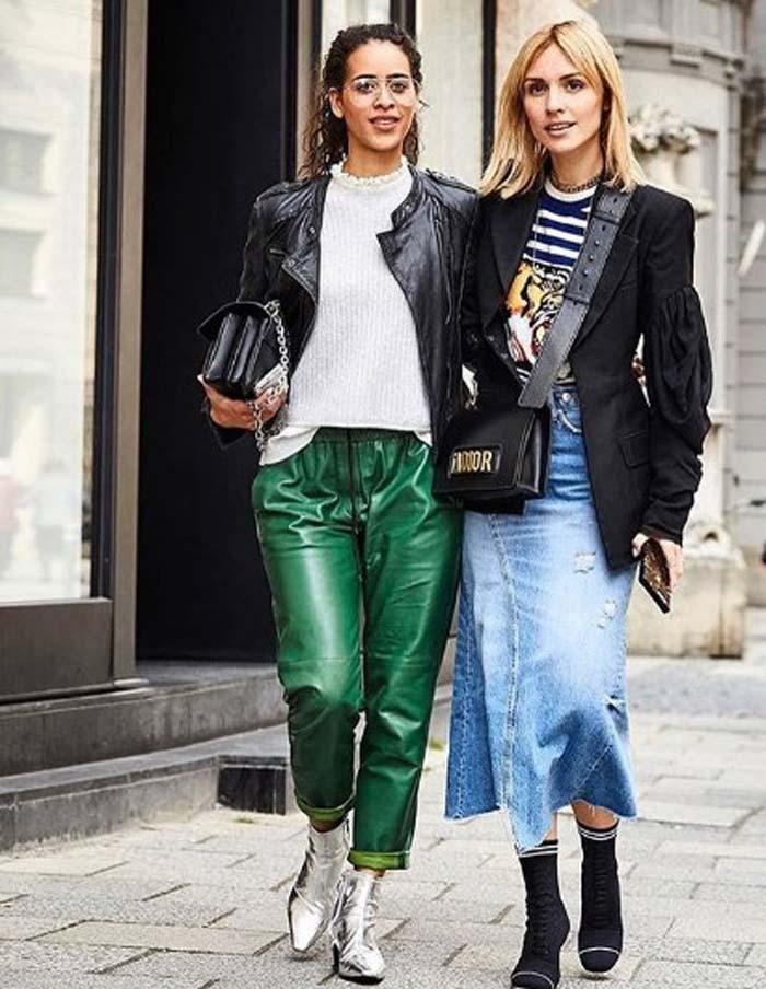 Зеленые брюки и кожаная куртка