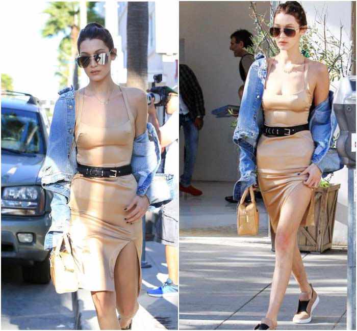 Нюдовое платье Белла Хадид - уличный стиль