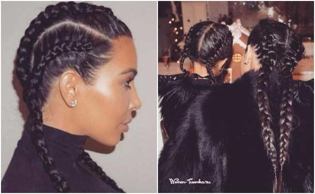 Ким Кардашьян - прическа косы