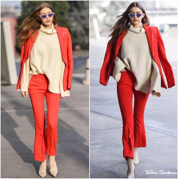 Джиджи Хадид красный костюм