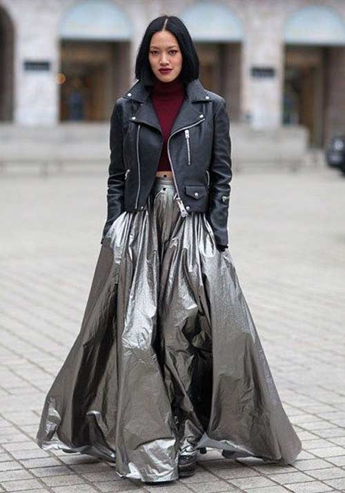 Длинная серебристая юбка