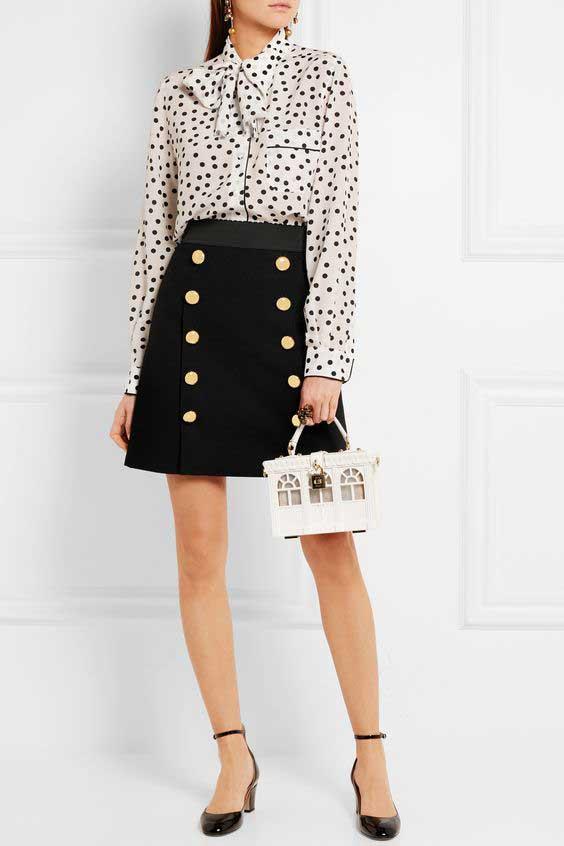 Dolce & Gabbana, блузка с бантомв горошек