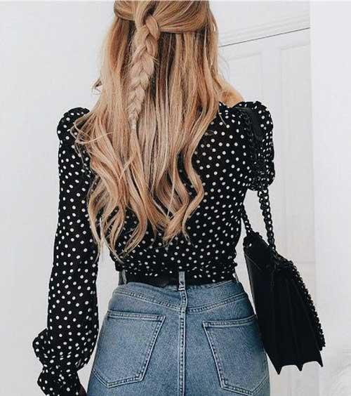Черная в горох блуза