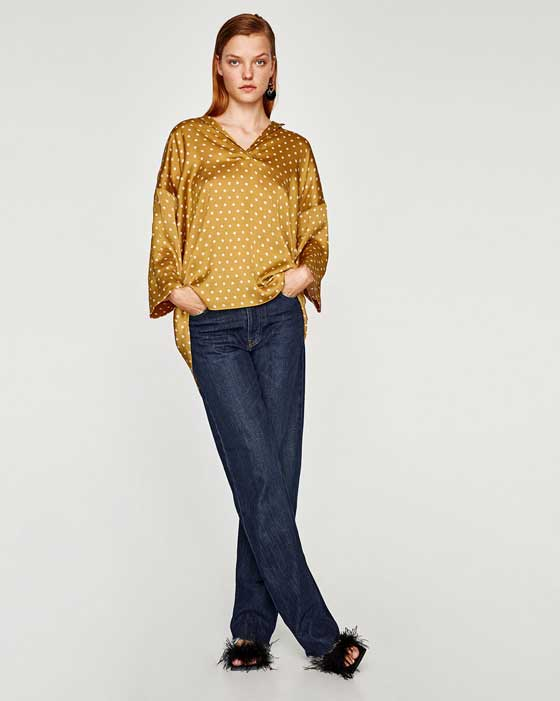 Zara блузка с джинсами