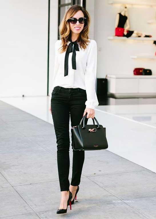 Белая блуза + черные брюки