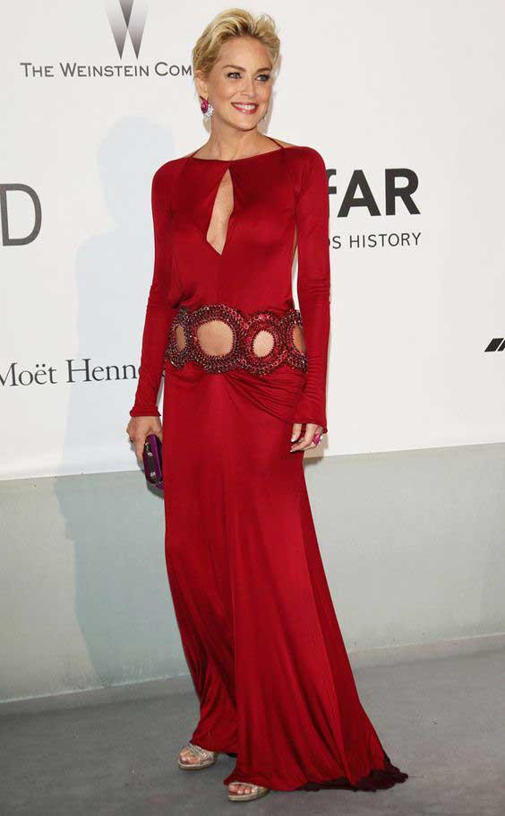 Шерон Стоун красное платье