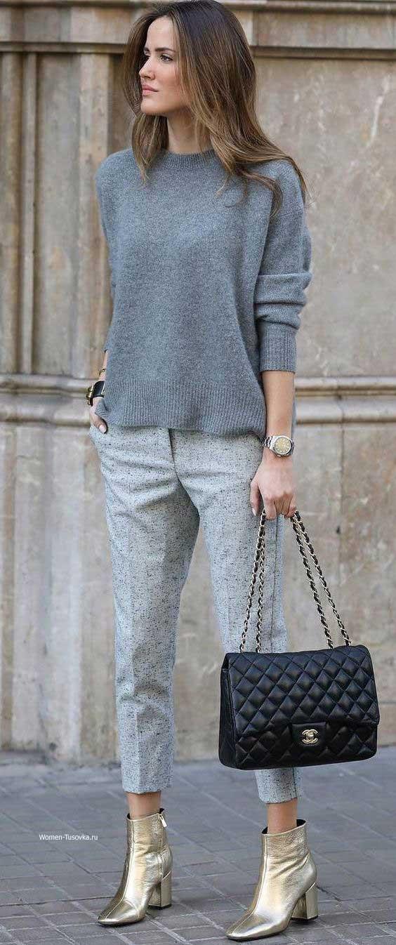 Серый свитер_серые брюки - образ для офиса