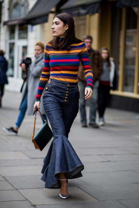 Свитер полосатый принт + джинсы