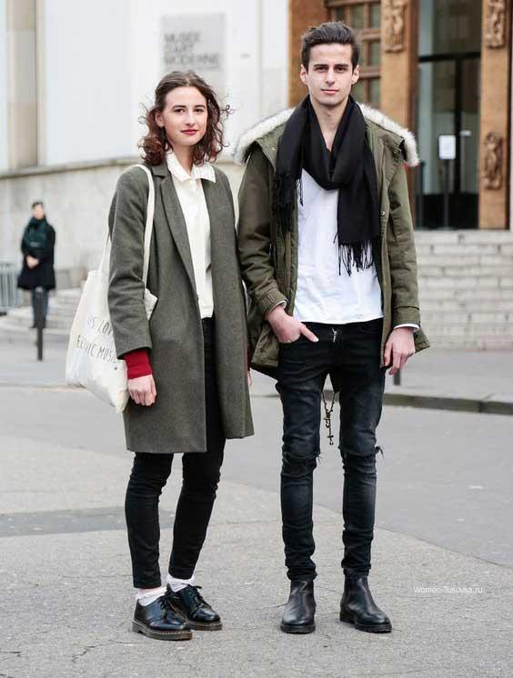 Девушка и парень одетые в стиле унисекс