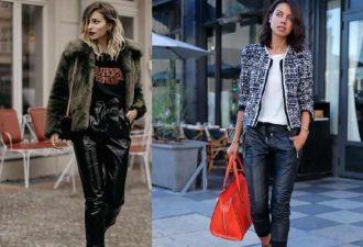 Модные сочетания с кожаными брюками