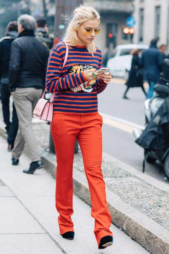 Образ с красными брюками