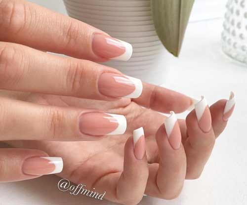 Nude base + French tips