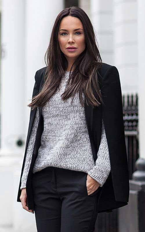 Образ для офиса, серый свитер + черные джинсы