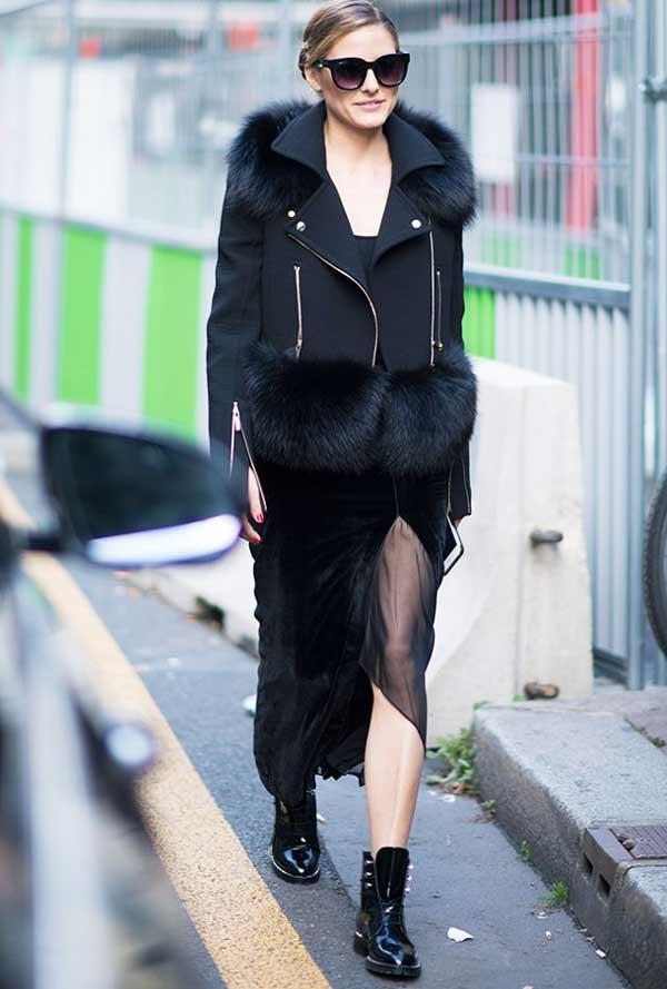 Полностью черный цвет в одежде, сочетание разных текстур
