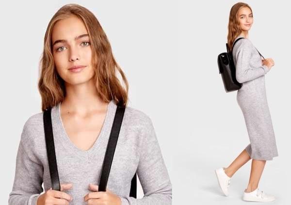 OSTIN - серое платье, модель на осень
