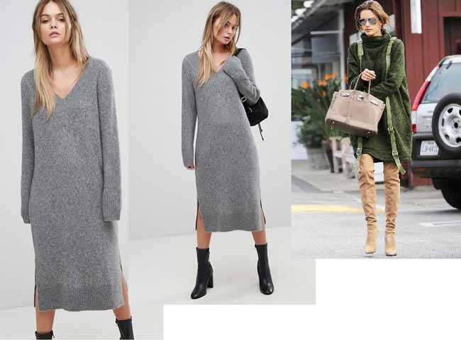 Платье-свитер на осень