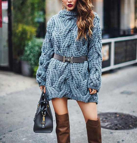 С чем надевать платье свитер зимой