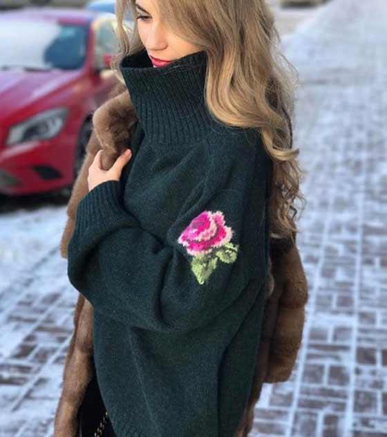 Модный цвет и воротник платье свитер