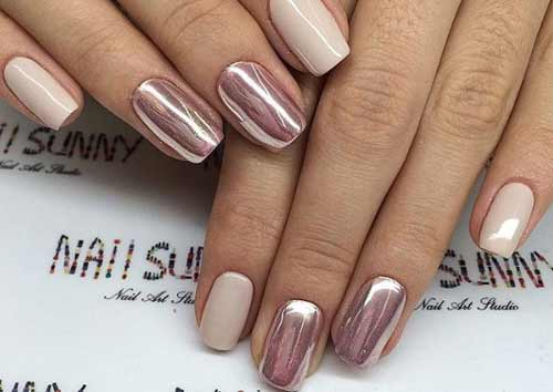 Эффект розового золота на коротких ногтях